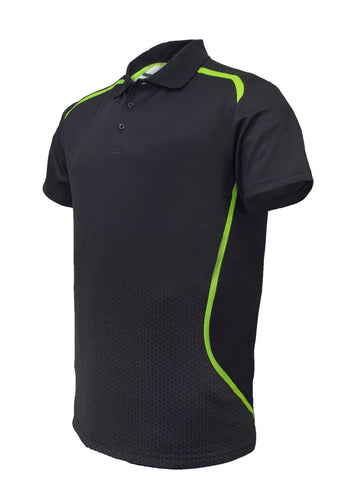 Sublimated Sports Golf Polo -Black/Lime