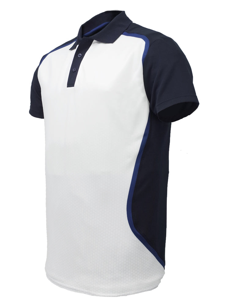 Sublimated Sports Polo - White/Black/Navy