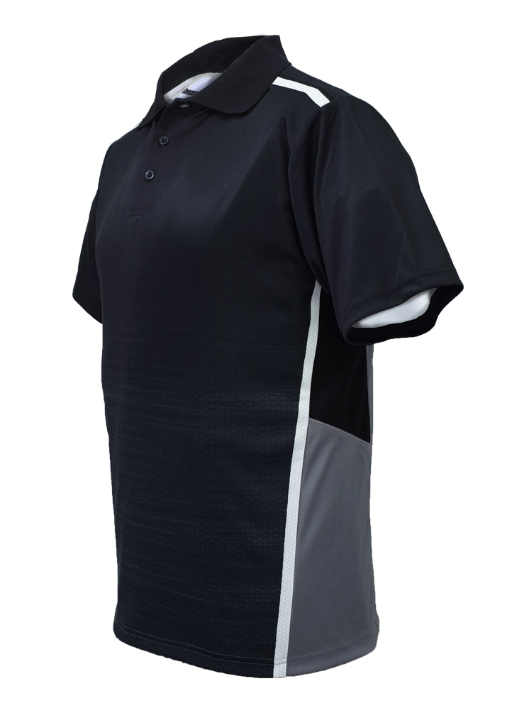Sublimated Panel Polo - Black/Grey