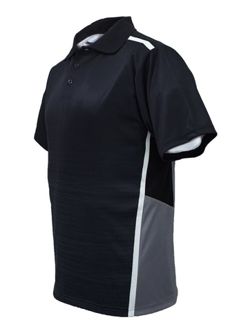 Sublimated Panel Golf Polo - Black/Grey