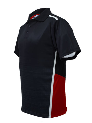 Sublimated Panel Golf Polo - Black/Red
