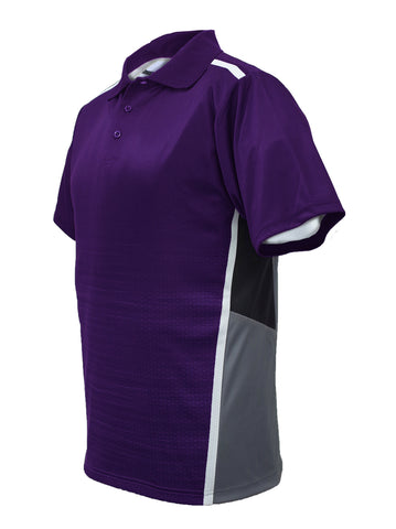 Sublimated Panel Golf Polo - Purple/Grey