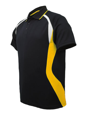 Golf Sports Panel Polo Shirt - Black/Gold/White