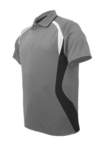Golf Sports Panel Polo Shirt - Grey/Black/White