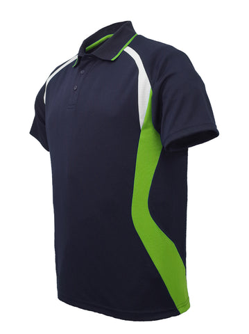 Golf Sports Panel Polo Shirt - Navy/Lime/White