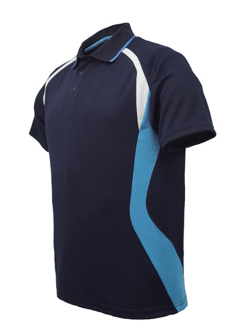 Golf Sports Panel Polo Shirt - Navy/Sky/White