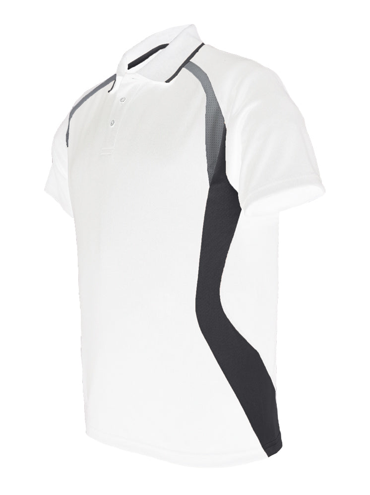 Sports Polo - Wht/Blk/Gry
