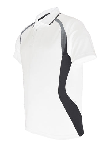 Golf Sports Panel Polo Shirt - White/Black/Grey