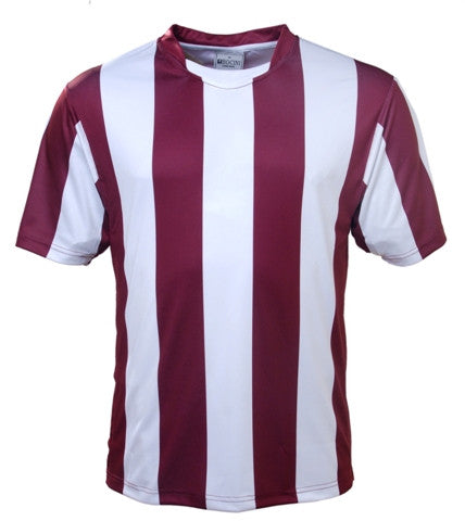 Kids Striped Football Jersey - Maroon/White