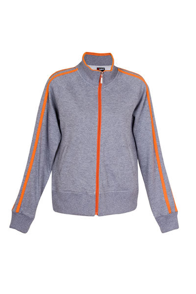 Ladies Unbrushed Fleece Jacket - Grey Marle/Orange
