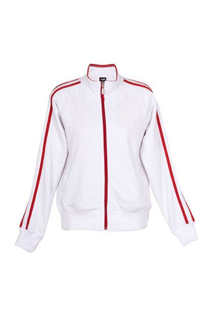 Ladies Unbrushed Fleece Jacket - White/Red