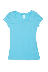 Ladies Cotton/Spandex T-Shirt - Aqua