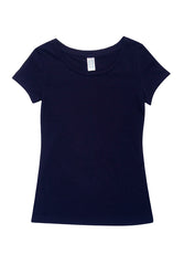 Ladies Cotton/Spandex T-Shirt - Navy