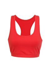 Ladies Gym Y-Back Crop Top - Red