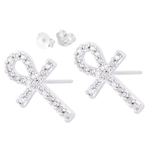 Ankh Cubic Stud Earrings