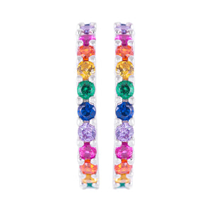 Iridescent Cubic Hoop Earrings