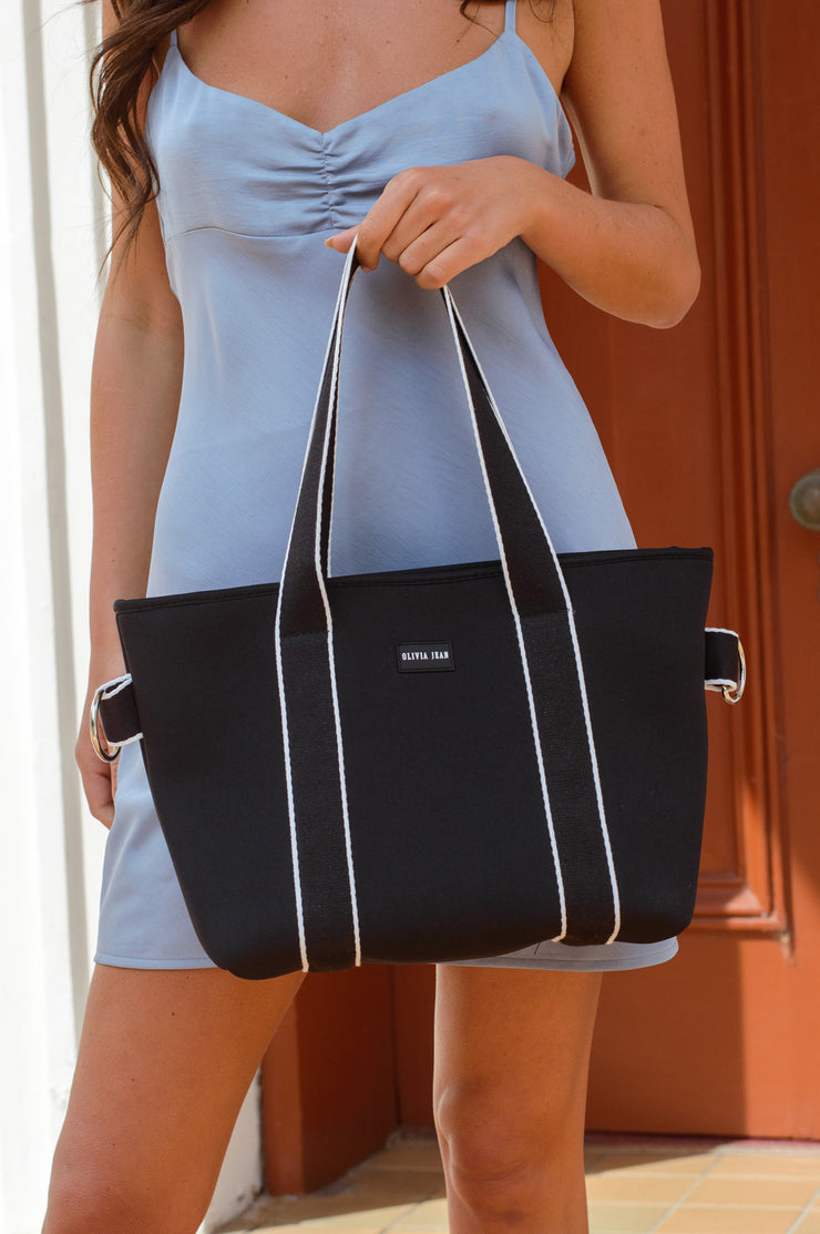 Harper (Black) Mini Neoprene Tote Bag