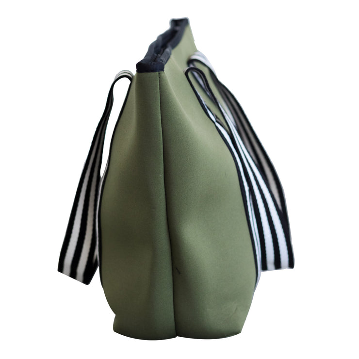 Manhattan (Khaki Green) Neoprene Tote Bag- With Zip Closure