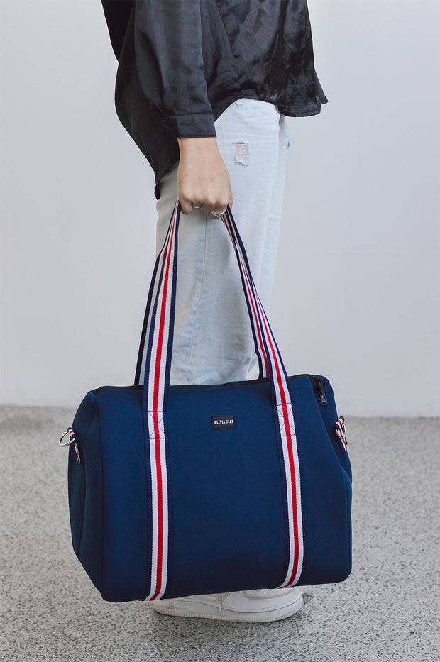 Alexis (Navy) Weekender Neoprene Bag- With Zip Closure