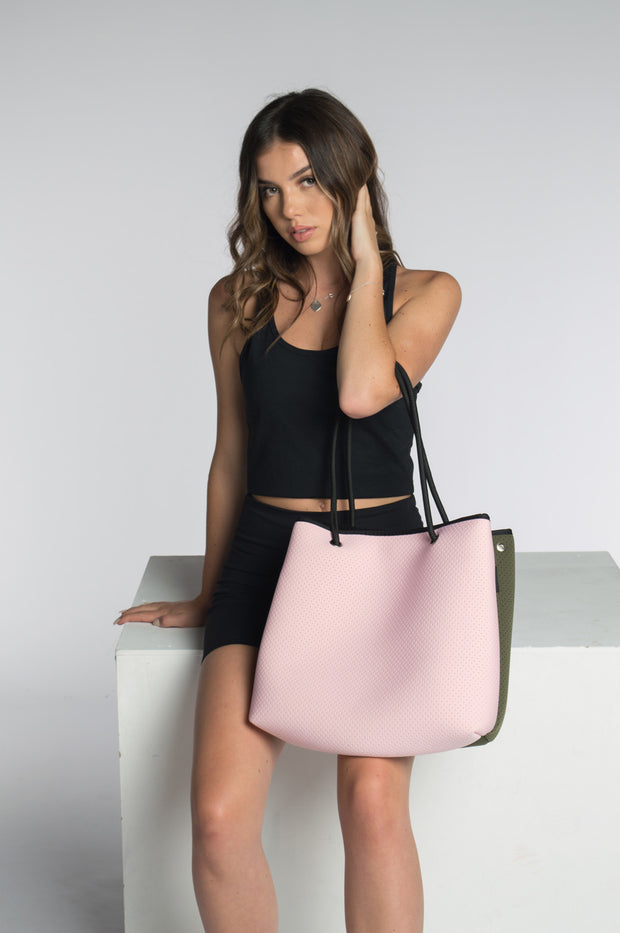 Riley (Pink/Khaki) Neoprene Tote Bag
