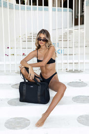Olivia Jean (Ribbed Black) Weekender Neoprene Bag- With Zip Closure (PRE-ORDER)