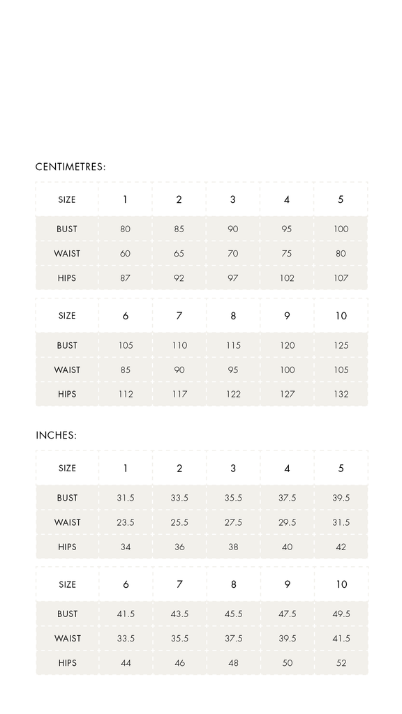THE HEMMING SIZE CHART