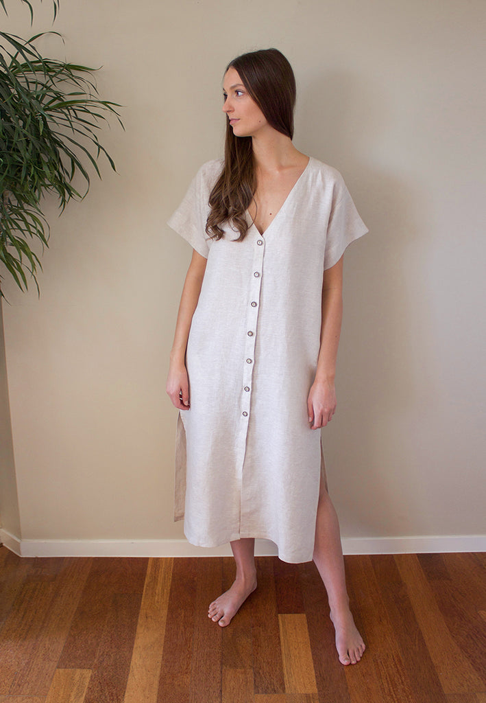The Adelia Dress is a loose fitting linen design with button down front, side splits, and in seam pockets. Sew it in 2 lengths, midi or mini.