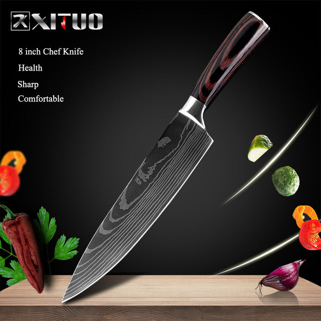 "XITUO 8""inch japanese kitchen knives Laser Damascus pattern chef knife Sharp Santoku Cleaver Slicing Utility Knives tool EDC"