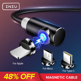 INIU 2m Magnetic Cable Micro USB Type C Adapter Charger Fast Charging For iPhone XS Max Samsung Charge Magnet Android Phone Cord