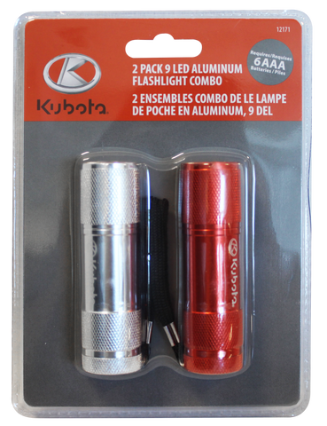 12171 - 2 PACK 9 LED FLASHLIGHT / ENSEMBLE DE 2 LAMPES DE POCHE À 9 DEL - Sold in lots of 6 - Caisse de 6