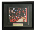 68-297- Kawhi Leonard 8x10 and Plate Framed Raptors Game 7 Basket Crouched