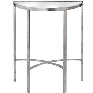 Mirrored Silver Half Moon Table