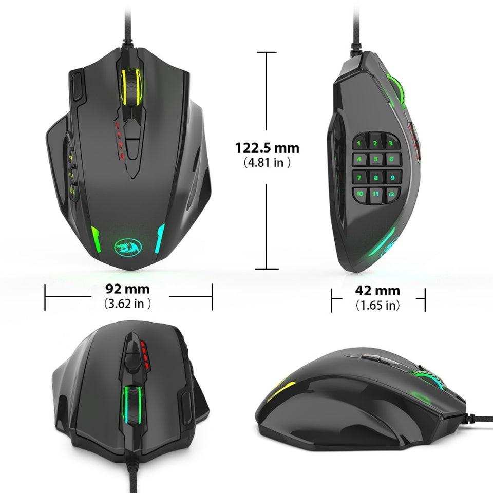Redragon RGB M908 IMPACT Gaming Mouse - 19 Programmable Buttons + 12400 DPI