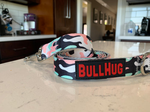 BullHug Dog Leash Pink & Mint Green Camouflage