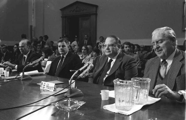 Image of the Hunt brothers testifying before Congress in 1980