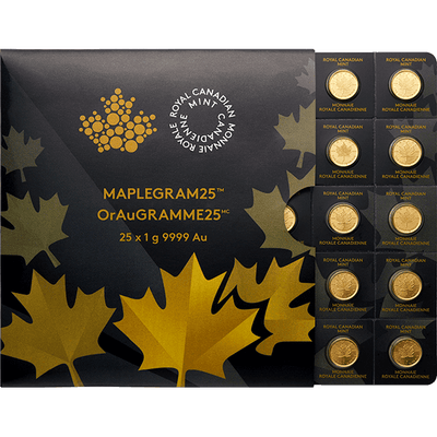 Buy 25 Gram Gold Maplegram 25g Gold Royal Canadian Mint Gold Coins 25 x 1g Reverse