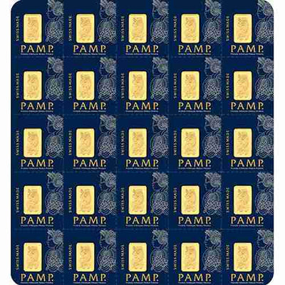 25 g Gold Sheet Bar - Lady Fortuna - 25 x 1 g Bars .9999 Au - Pamp Suisse