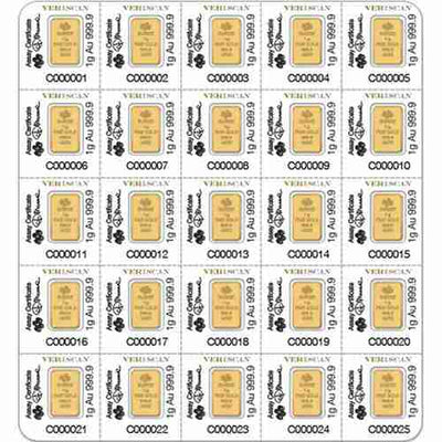 25g Gold Sheet Bar - Lady Fortuna - 25 x 1g Bars .9999 Au Pamp Suisse