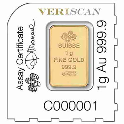 25g Gold Sheet Bar - Lady Fortuna - 25 x 1g Bars .9999 Au - PAMP Suisse - Back