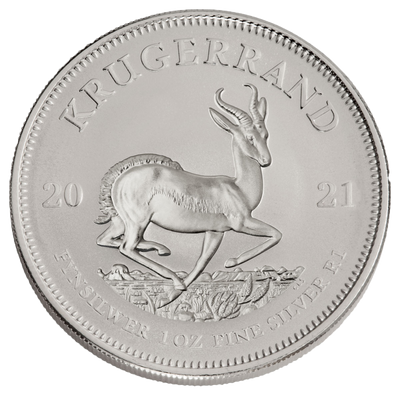 Buy 1 Oz Silver Coin 2021 South African Mint Krugerrand Silver Buy 1 Oz Silver Krugerrand Reverse