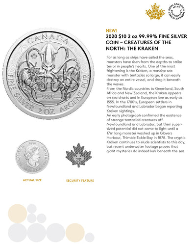 BUY 2 oz 2020 Canadian Silver KRAKEN Coin - Creatures of the North RCM Series - .9999 AG - Royal Canadian Mint