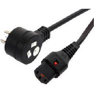 1M 10A GPO to IEC Locking Cable - Black