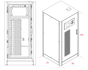 UPS Solutions Makelsan 60kVA Tower 3 Phase Including 60x24Ah 12V batteries, SNMP and dry contact - 1 Year Warranty