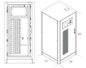 UPS Solutions Makelsan 80kVA Tower 3 Phase Including 60x38Ah 12V batteries, SNMP and dry contact - 1 Year Warranty