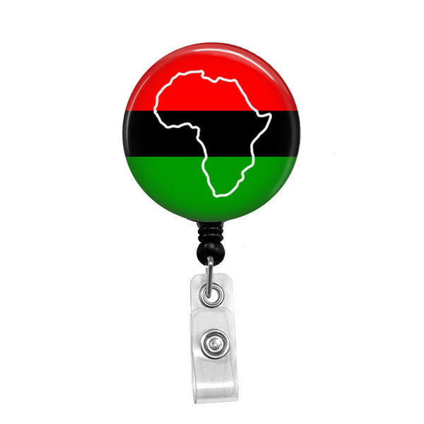 African Flag, Afro-American Pride - Retractable Badge Holder - Badge Reel - Lanyards - Stethoscope Tag