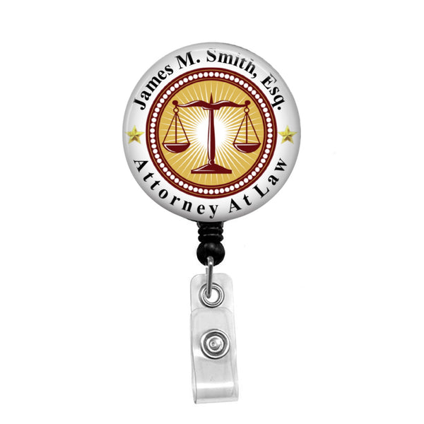 Attorney, Personalized - Retractable Badge Holder - Badge Reel - Lanyards - Stethoscope Tag
