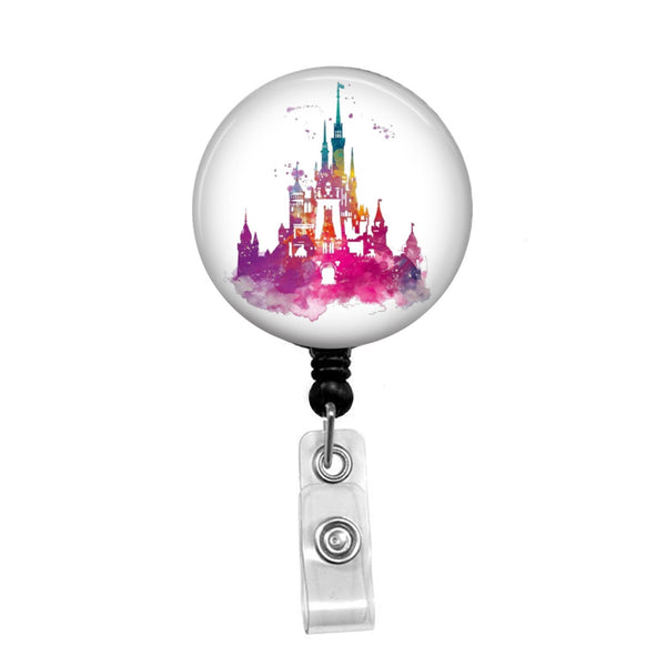 Cinderella's Castle Watercolor - Retractable Badge Holder - Badge Reel - Lanyards - Stethoscope Tag