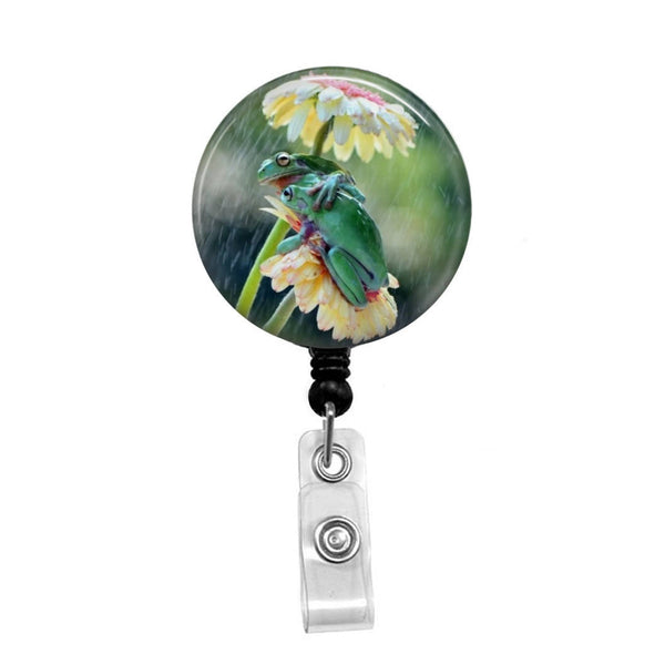 Frogs Under a Flower - Retractable Badge Holder - Badge Reel - Lanyards - Stethoscope Tag