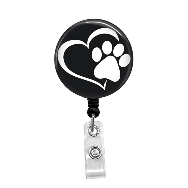 Heart with Paw, Animal Rescue - Retractable Badge Holder - Badge Reel - Lanyards - Stethoscope Tag