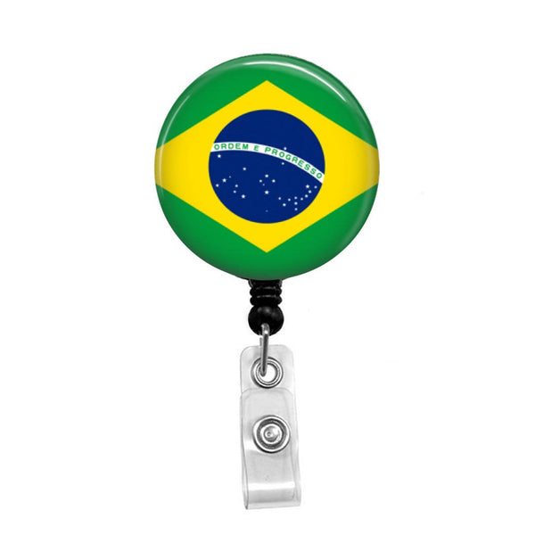 Flag of Brazil - Retractable Badge Holder - Badge Reel - Lanyards - Stethoscope Tag